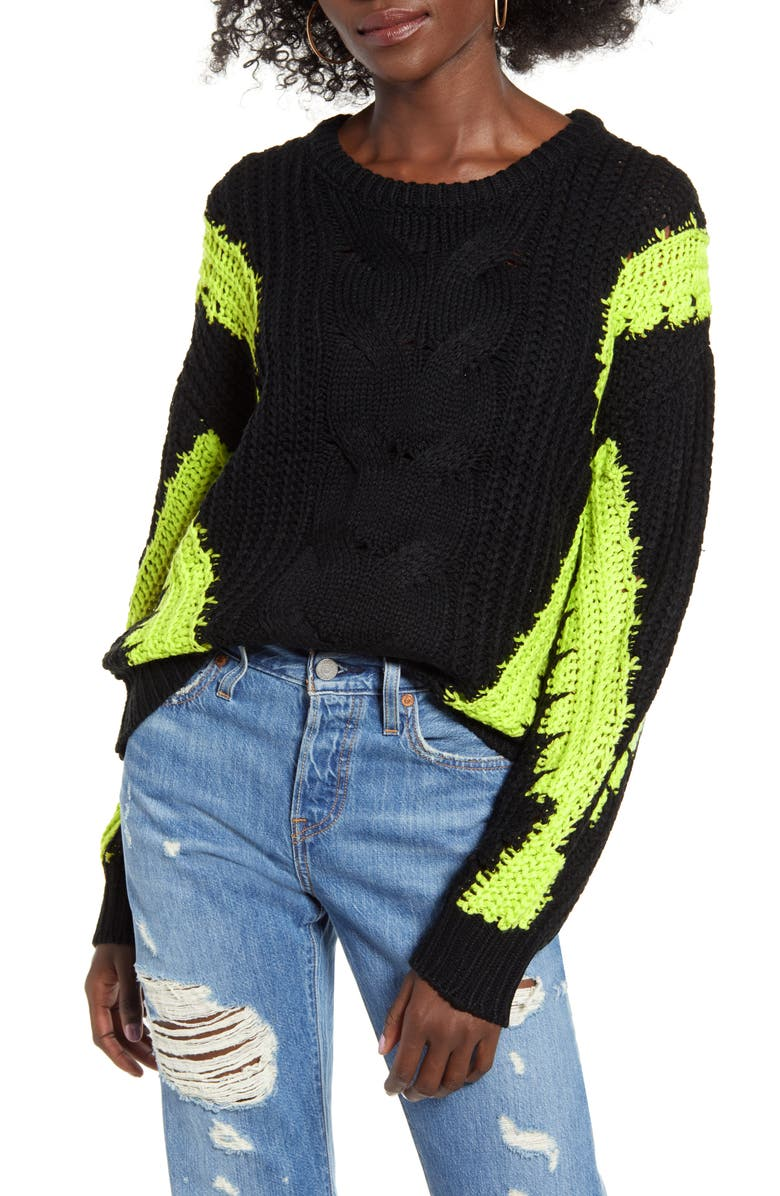 J.O.A. Contrast Cable Knit Sweater, Main, color, BLACK