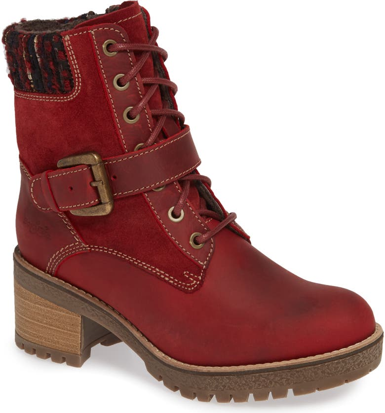 BOS. & CO. Marvel Waterproof Moto Boot, Main, color, RED OIL SUEDE