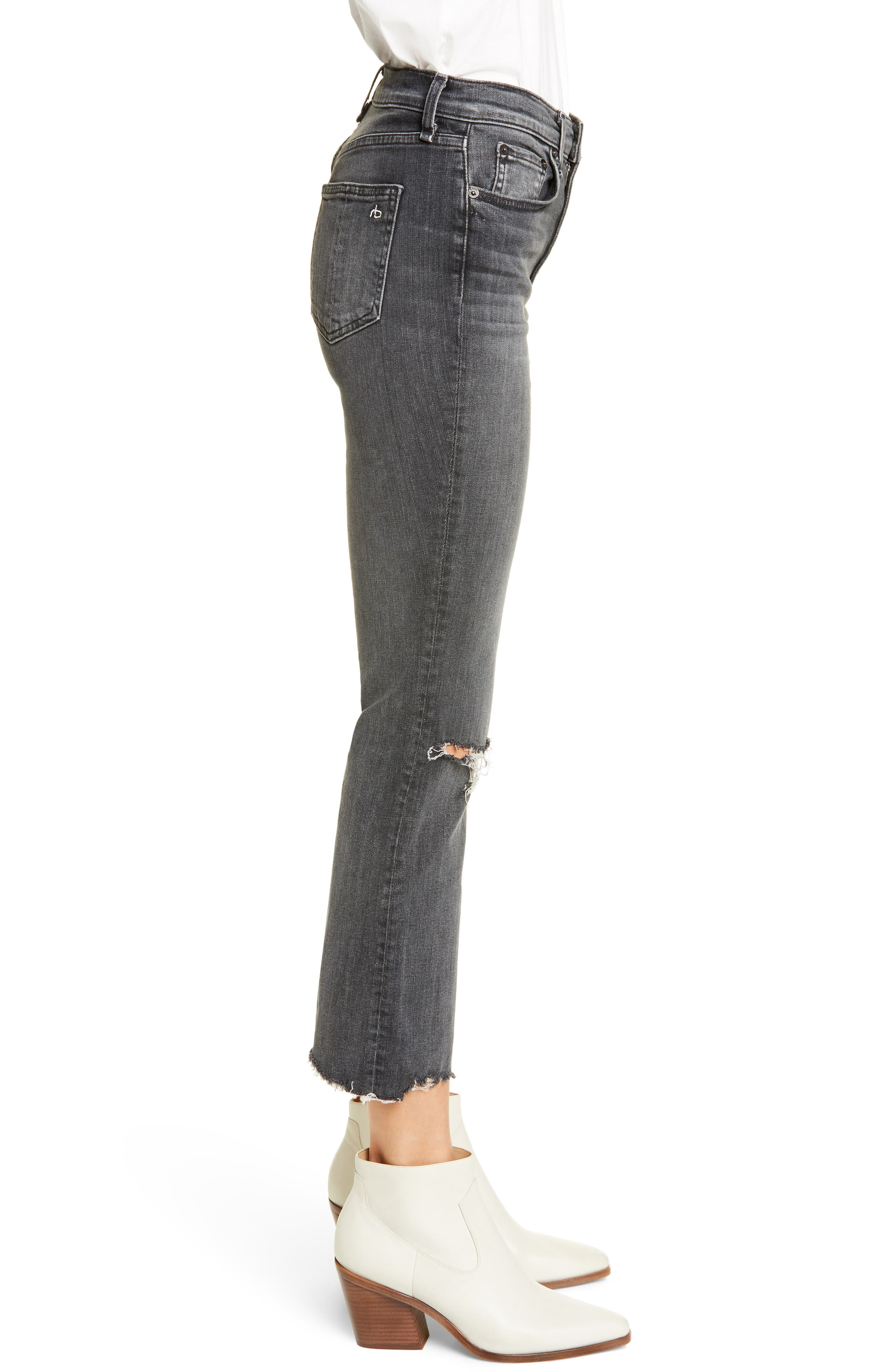 ,                             Nina Ankle Flare Jeans,                             Alternate thumbnail 4, color,                             001