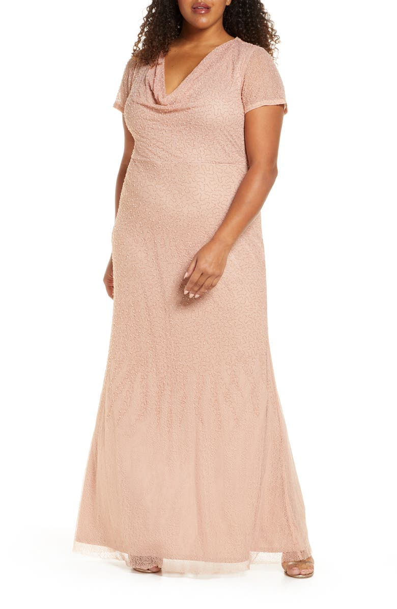 JS COLLECTIONS Cowl Neck Beaded Mesh Gown, Main, color, ROSE