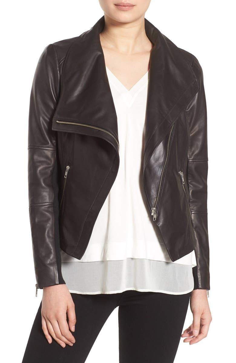 TROUVÉ Drape Front Leather Jacket, Main, color, 001