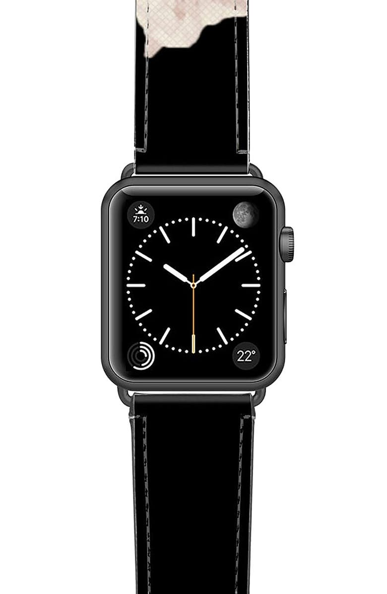 CASETIFY Sweet Pea Saffiano Faux Leather Apple Watch<sup>®</sup> Strap, Main, color, BLACK/ FLORAL/ SPACE GREY