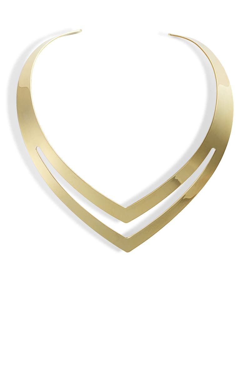 STERLING FOREVER Double V Torque Necklace, Main, color, GOLD