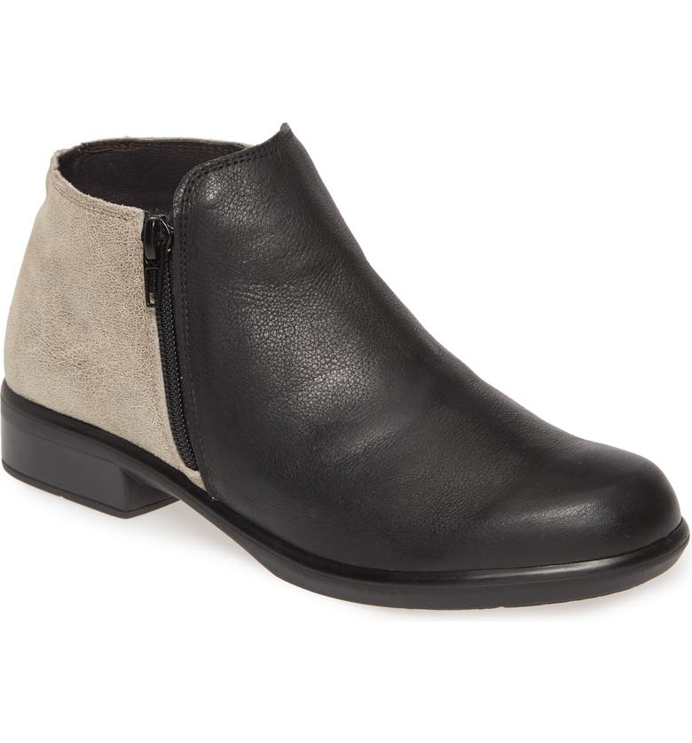 NAOT 'Helm' Bootie, Main, color, BLACK/ SPECKELD BEIGE LEATHER