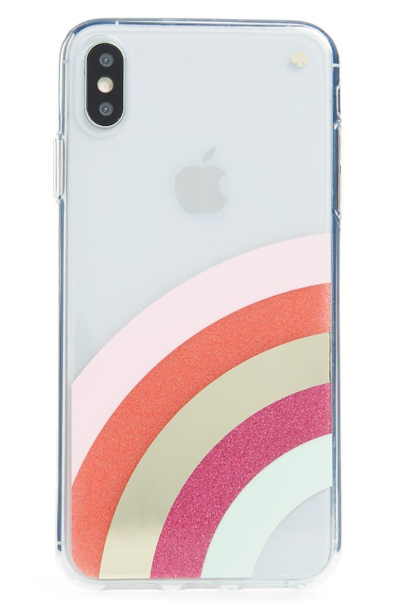 KATE SPADE NEW YORK glitter rainbow iPhone X/Xs/Xs Max & XR case, Main, color, MULTI
