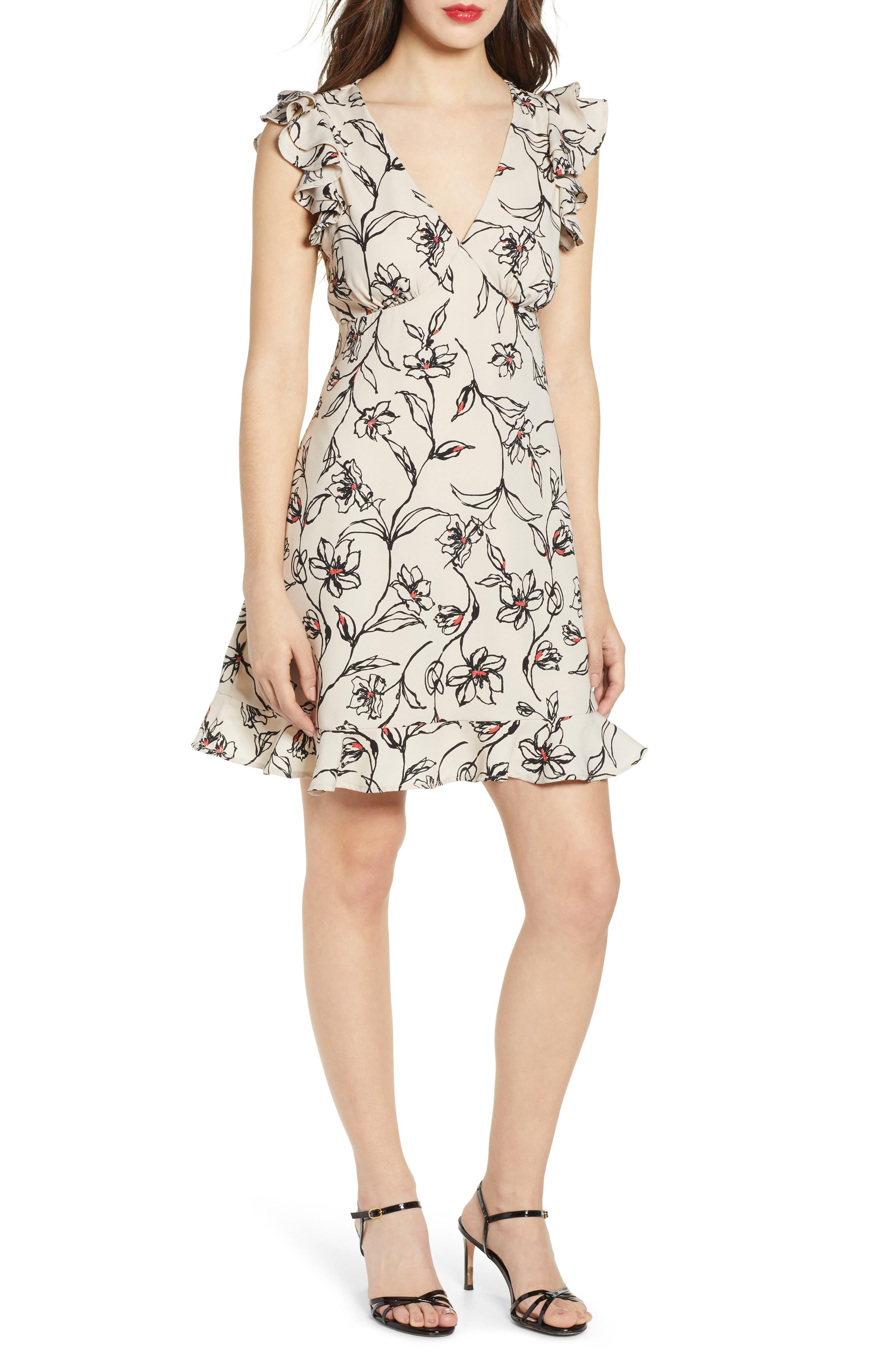 Leith Flutter Sleeve Minidress, Ivory