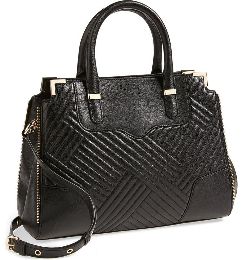 REBECCA MINKOFF 'Amorous' Quilted Satchel, Main, color, 001