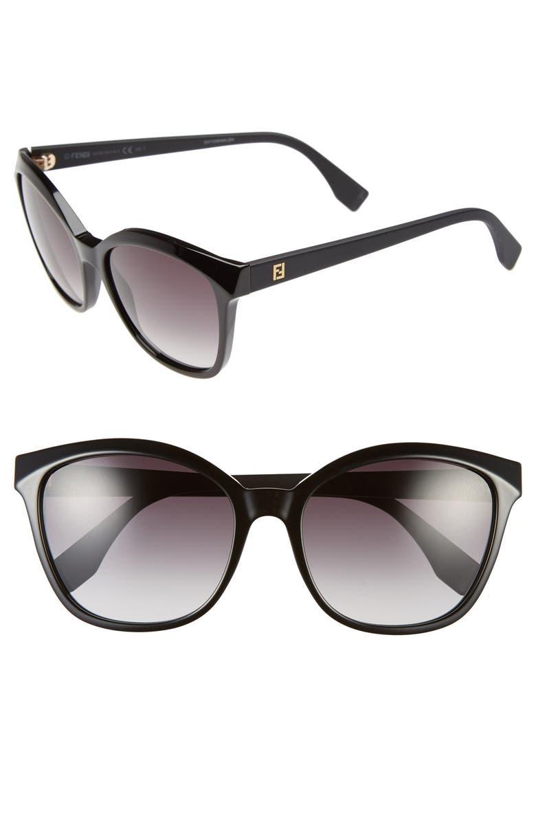 FENDI 55mm Retro Sunglasses, Main, color, 001