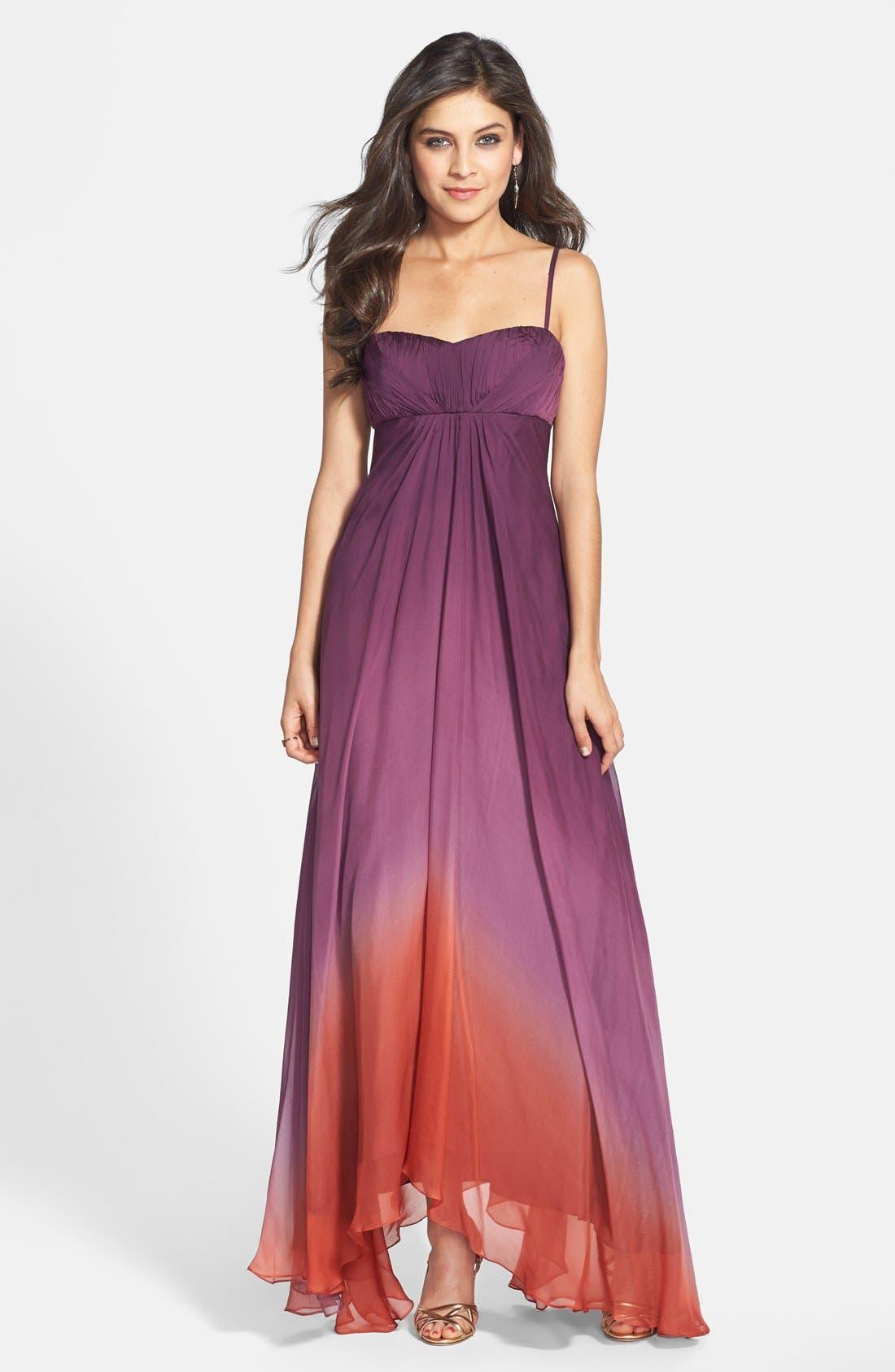 ,                             Ombré Chiffon Gown,                             Main thumbnail 1, color,                             500