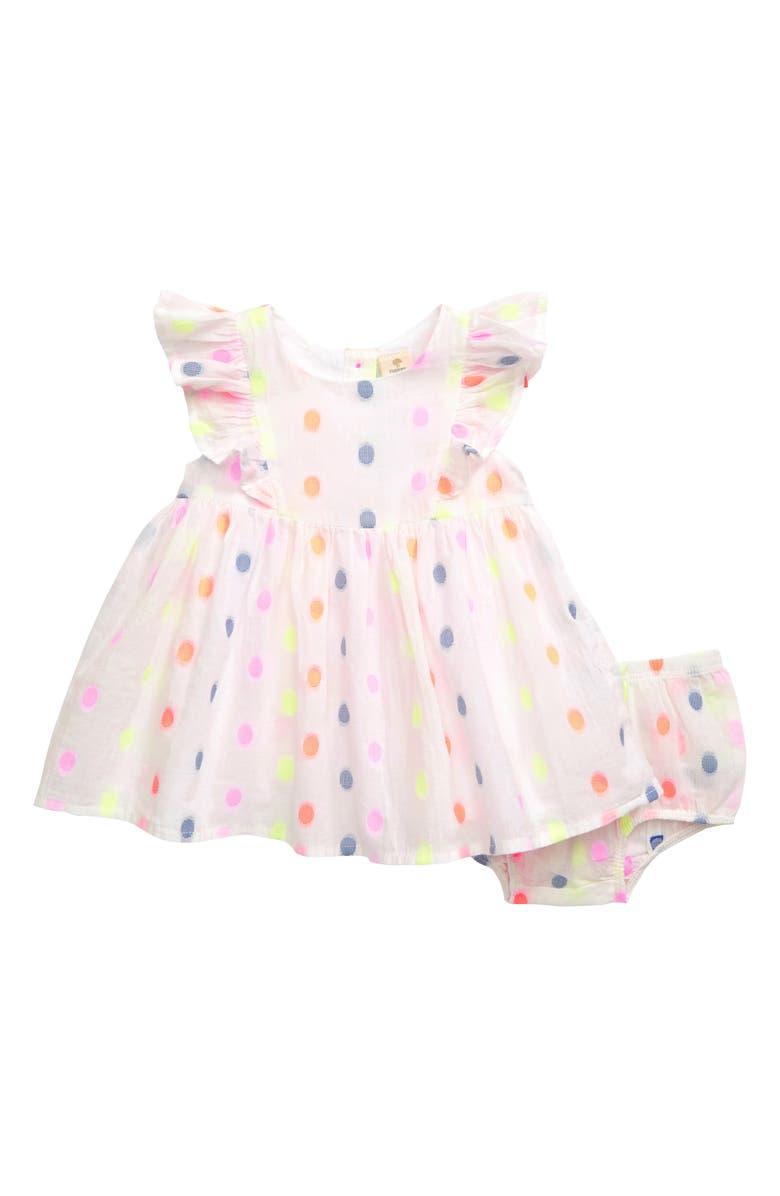 TUCKER + TATE Ruffle Dot Dress, Main, color, 100