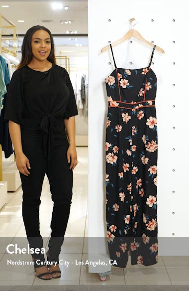 Carson Piped Floral Jumpsuit, sales video thumbnail