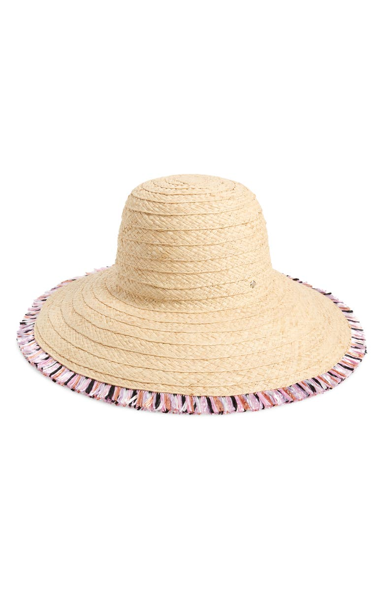 multicolor fringe sun hat, Main, color, NATURAL