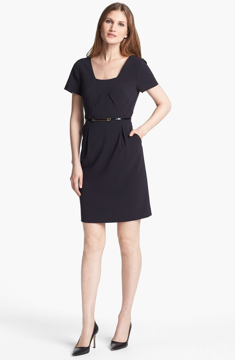 TAHARI Belted Sheath Dress, Main, color, 001