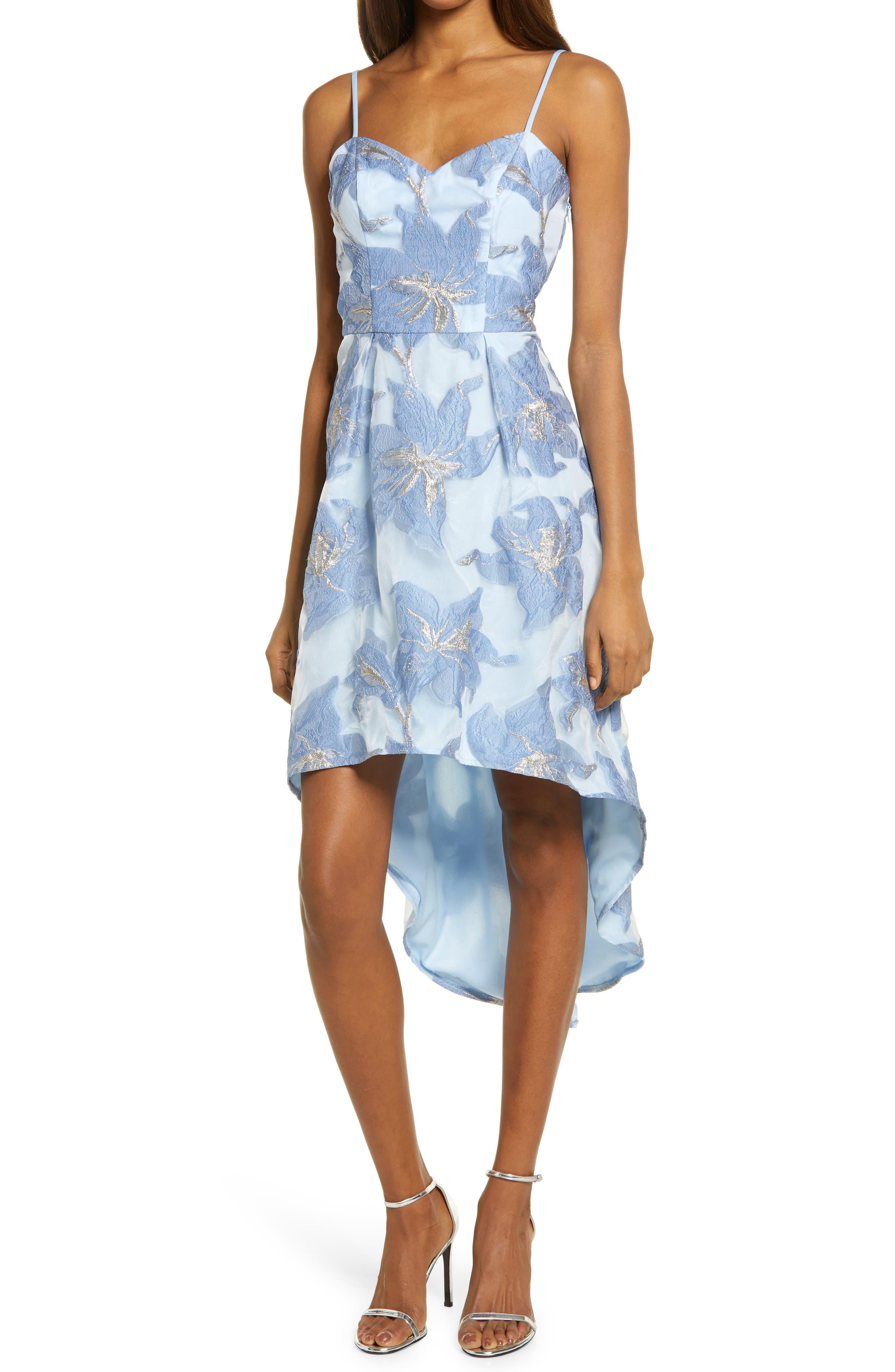 Metallic Floral Jacquard High/low Cocktail Dress