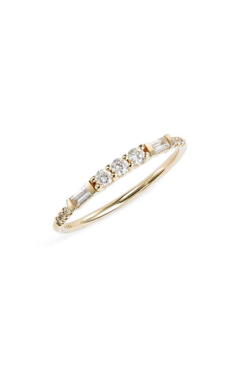 JENNIE KWON DESIGNS Round & Baguette Diamond Band Ring, Main, color, YELLOW GOLD/ DIAMOND