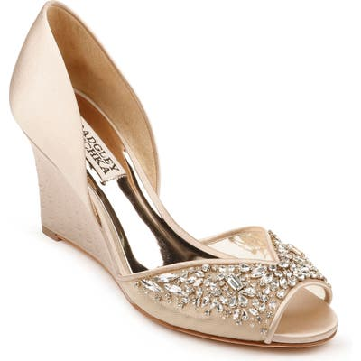 Badgley Mischka Cashmere Crystal Embellished Wedge- Beige