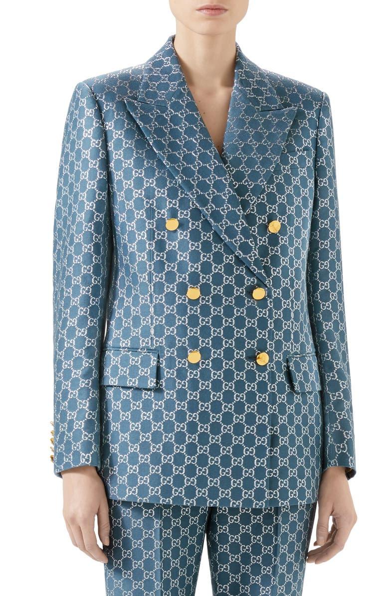 GUCCI Metallic GG Logo Wool Blend Blazer, Main, color, BLUE/ MIX