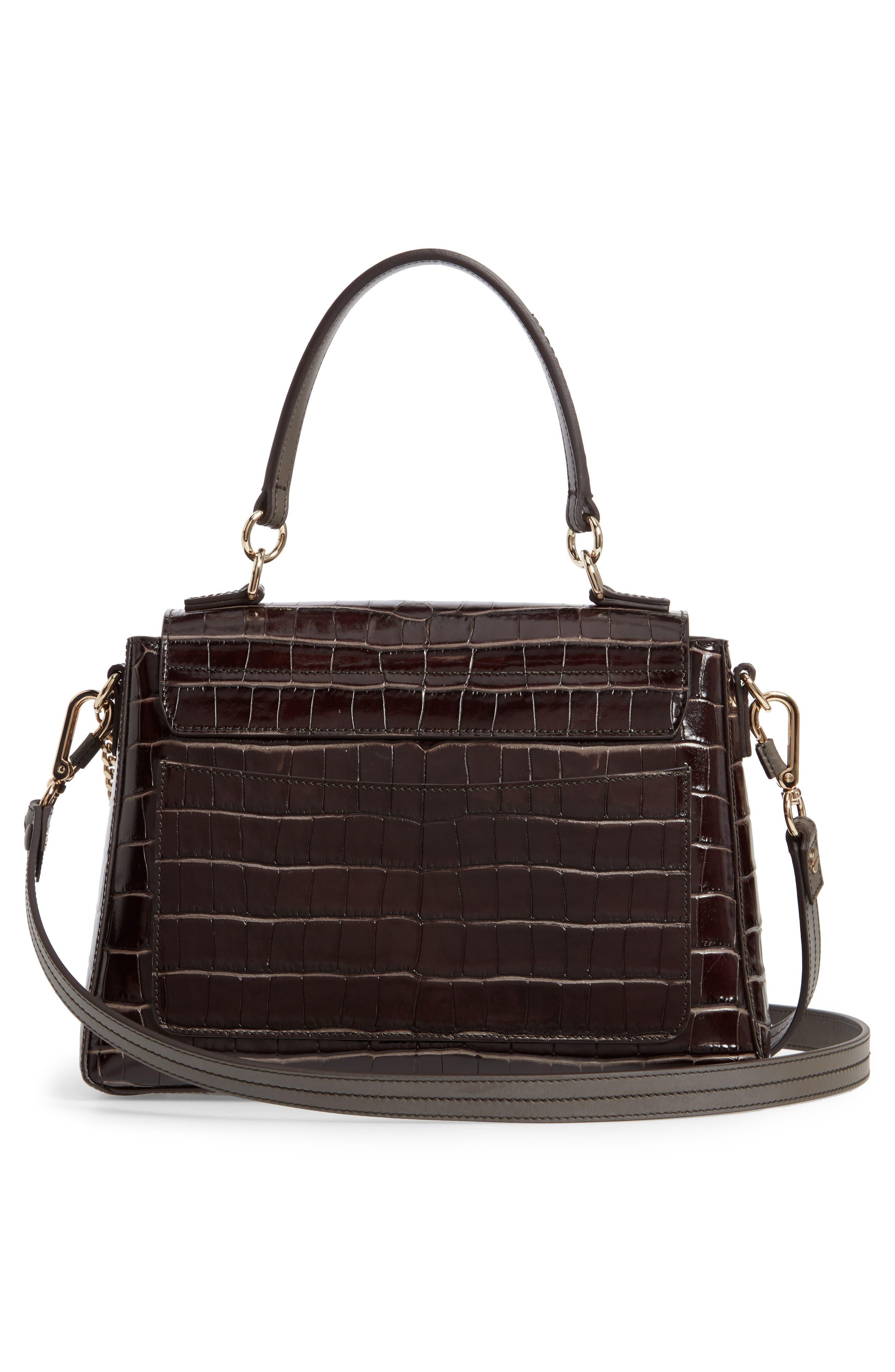 ,                             Medium Faye Day Croc Embossed Leather Shoulder Bag,                             Alternate thumbnail 3, color,                             PROFOUND BROWN