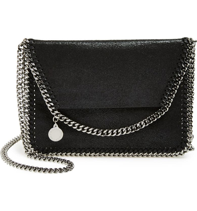 STELLA MCCARTNEY 'Mini Falabella - Shaggy Deer' Faux Leather Crossbody Bag, Main, color, 001