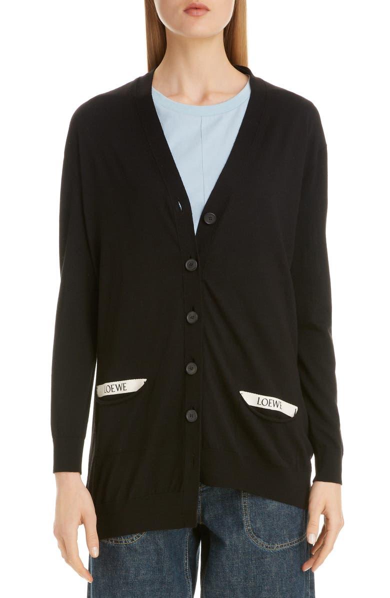 LOEWE Logo Pocket Asymmetrical Wool Cardigan, Main, color, BLACK
