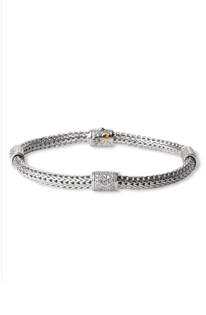 JOHN HARDY 'Classic Chain' Pavé Diamond Station Bracelet, Main, color, SILVER