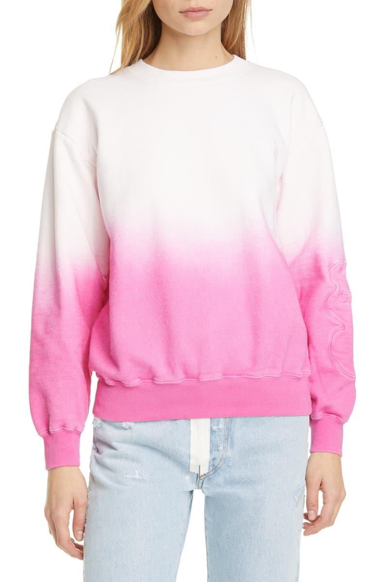 OFF-WHITE Dégradé Cotton Sweatshirt, Main, color, WHITE FUCHSIA
