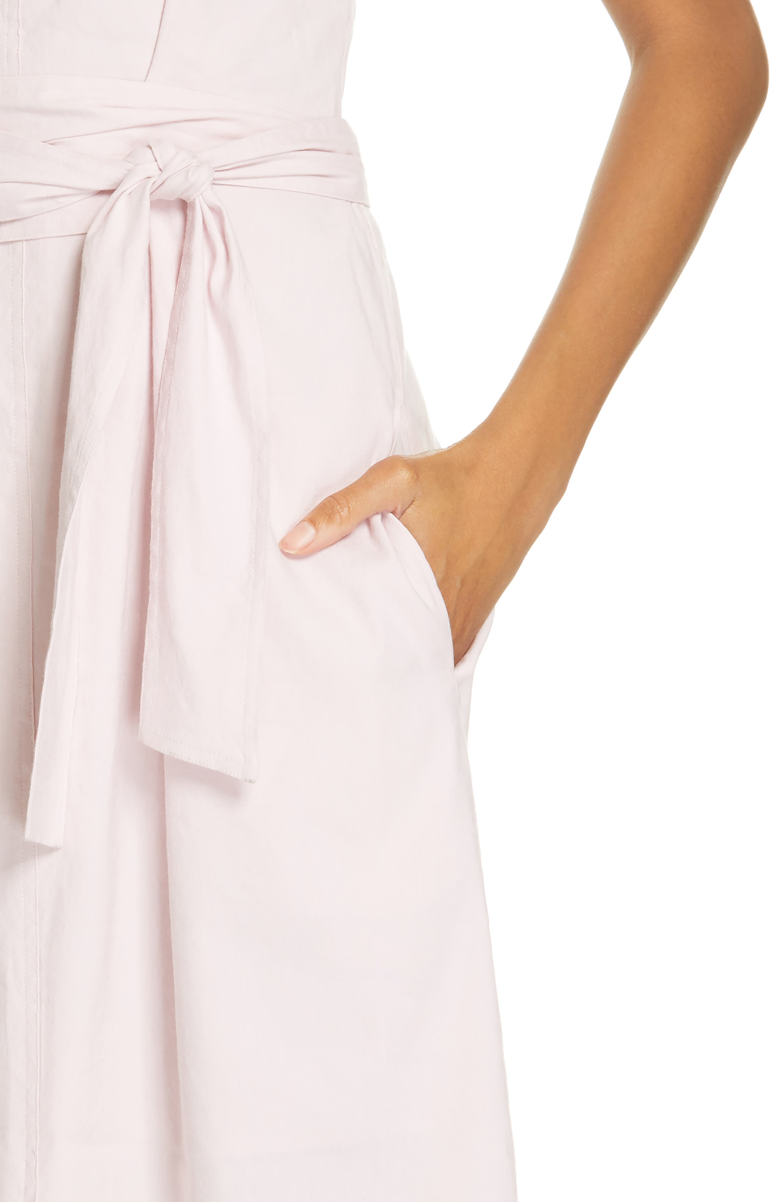 ,                             Wide Strap Belted Linen Blend Dress,                             Alternate thumbnail 5, color,                             ROSA SECO