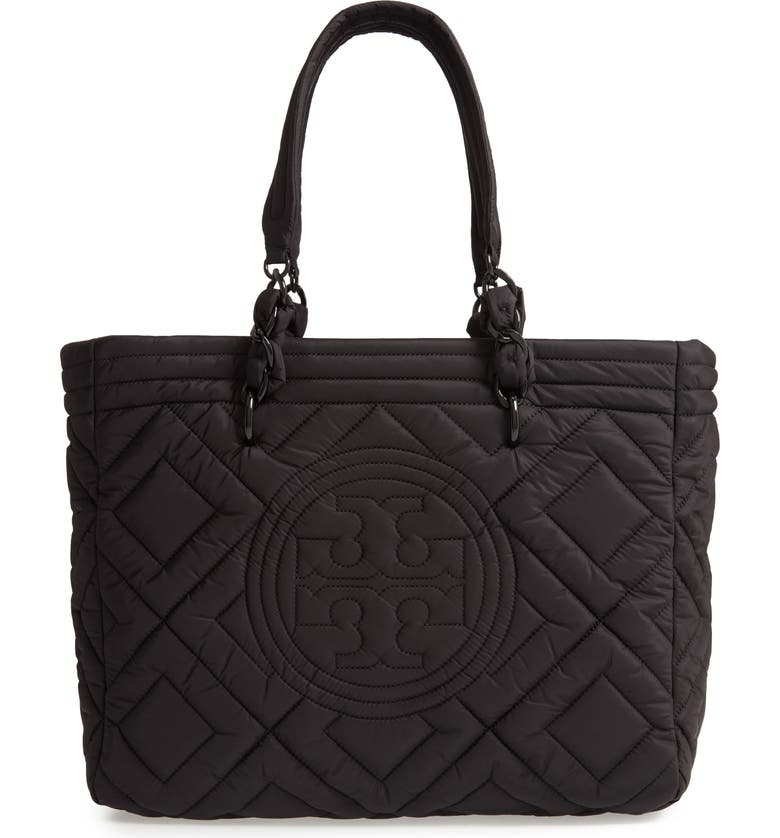 Come discover these Over 50 Fashion: Running Errands Comfy Cute Pieces! Fleming Quilted Nylon Tote, Main, color, BLACK. #fashionover50 #toryburch