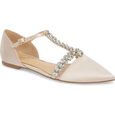 Jewel Badgley Mischka Maury Embellished T-Strap Flat- Metallic