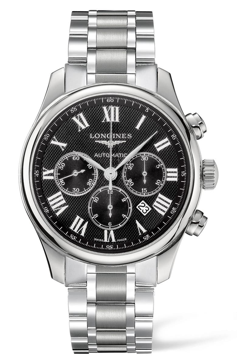 LONGINES Master Automatic Chronograph Bracelet Watch, 44mm, Main, color, SILVER/ BLACK/ SILVER