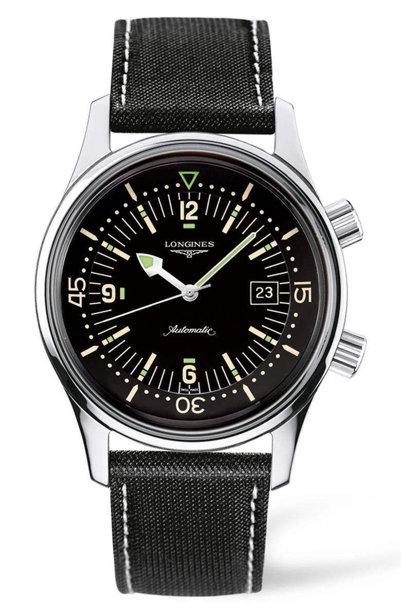 LONGINES Heritage Legend Diver Automatic Synthetic Strap Watch, 42mm, Main, color, BLACK/ SILVER