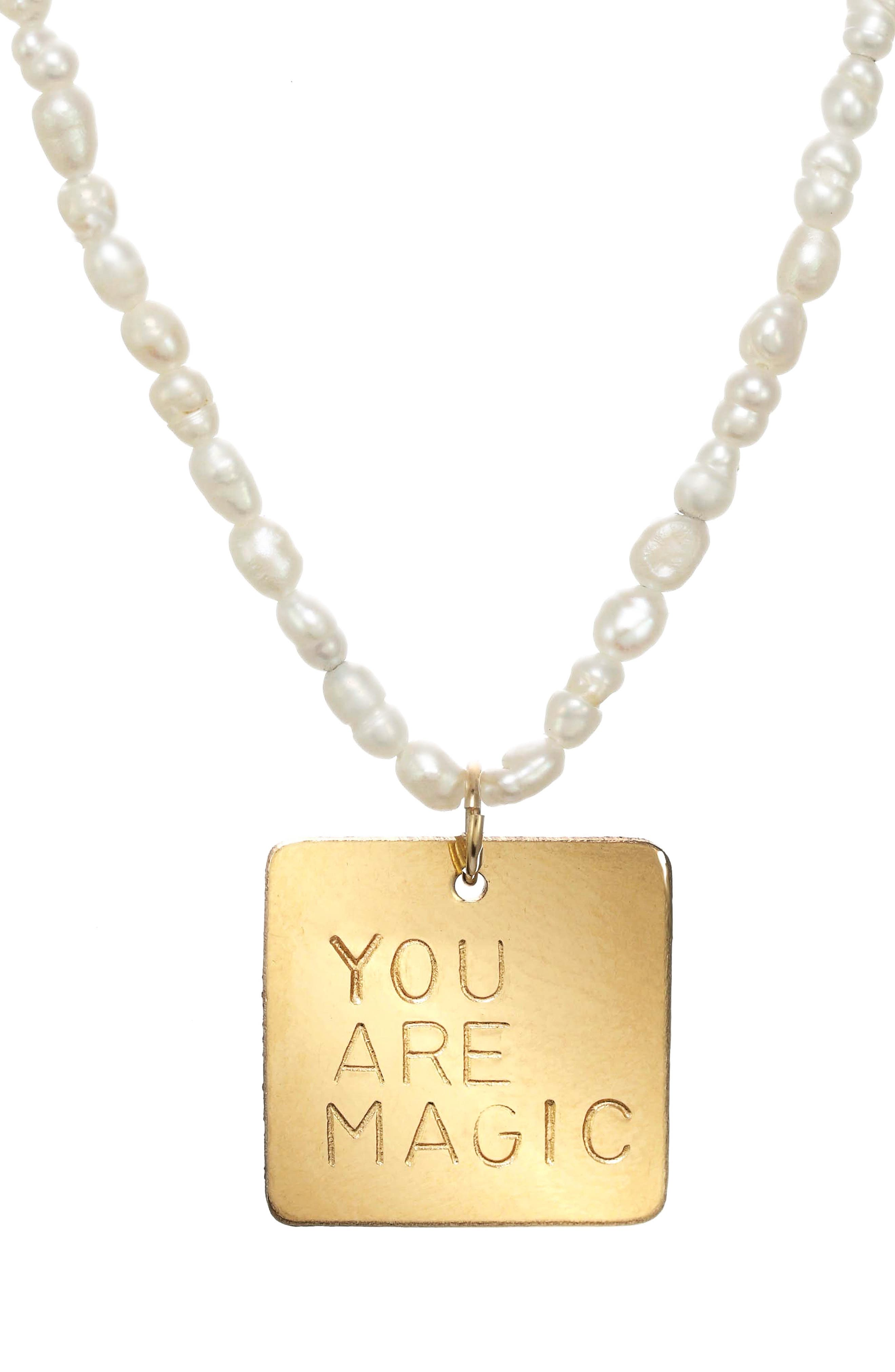 You Are Magic Genuine Pearl Bead Pendant Necklace