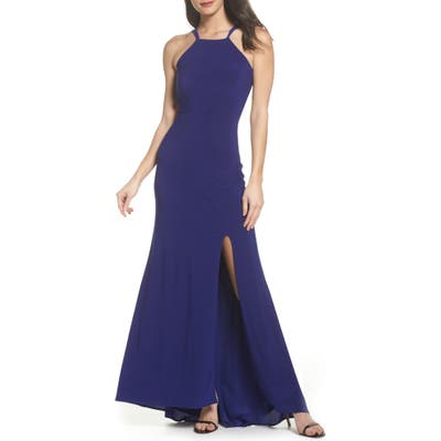Morgan & Co. Strappy Trumpet Gown, /4 - Blue