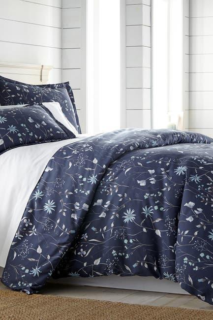 Image of SOUTHSHORE FINE LINENS King/California King Luxury Premium Floral  Collection Duvet Cover Set - Blue