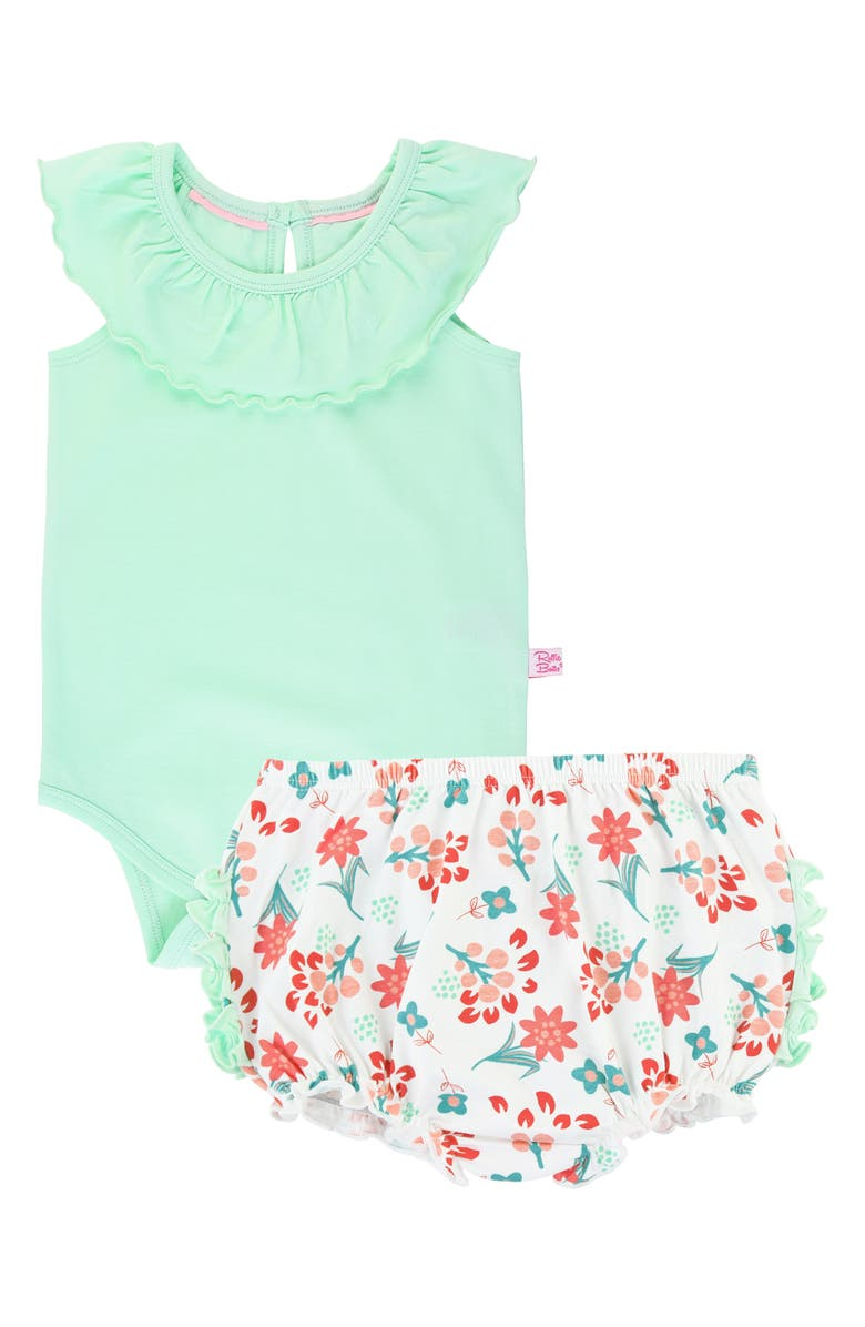 RUFFLEBUTTS Mint Ruffle Bodysuit & Floral Bloomers, Main, color, GREEN