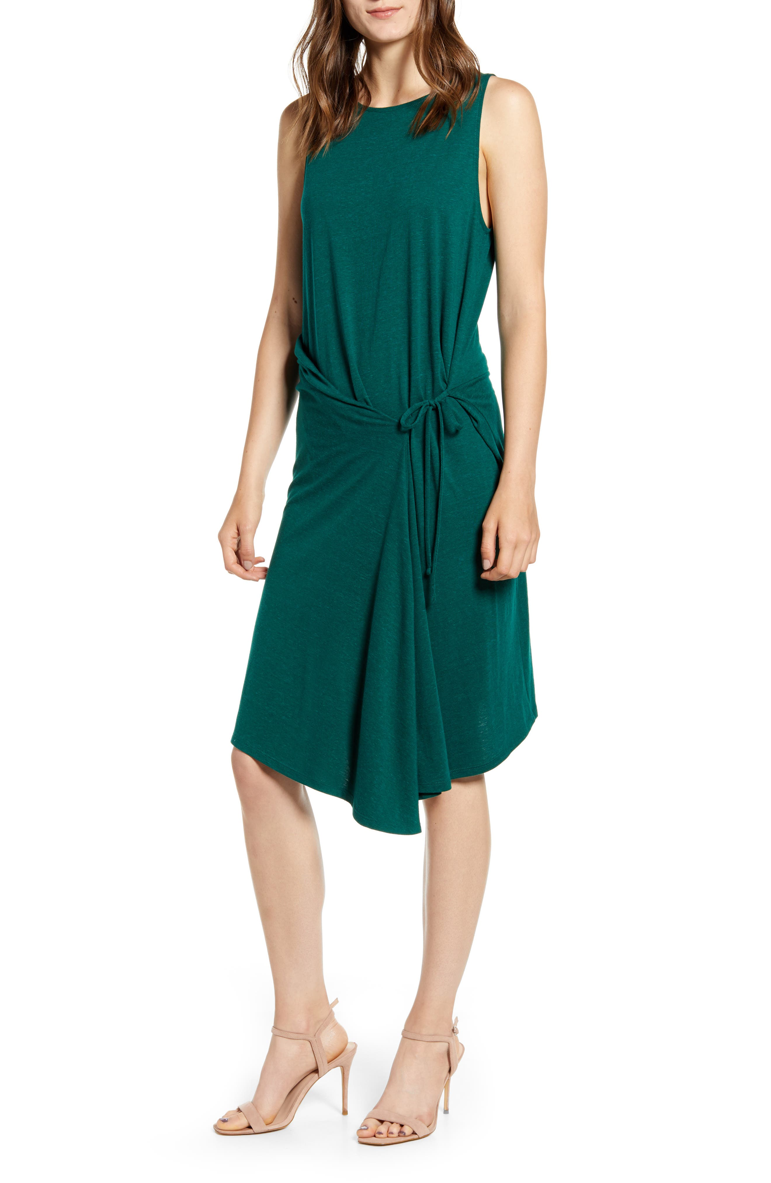 Chelsea28 Asymmetrical Tank Dress, Green