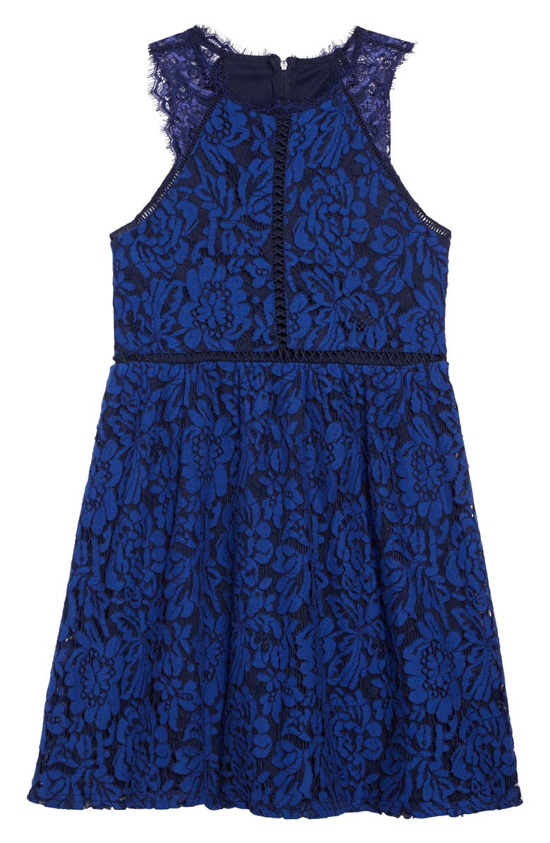 TRIXXI Embroidered Lace Fit & Flare Dress, Main, color, COBALT