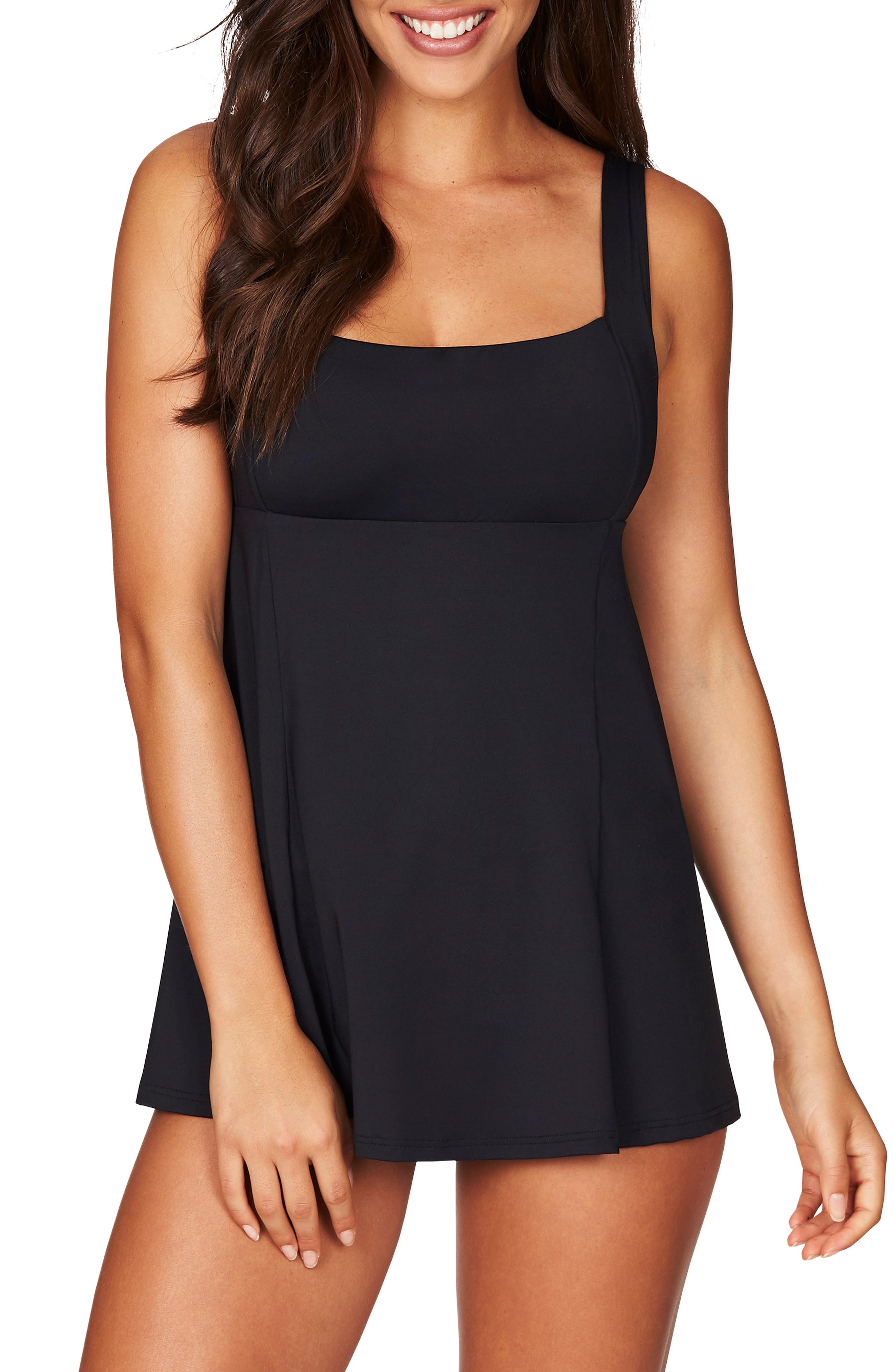 Sea Level Skirted One-Piece Swimsuit, Black
