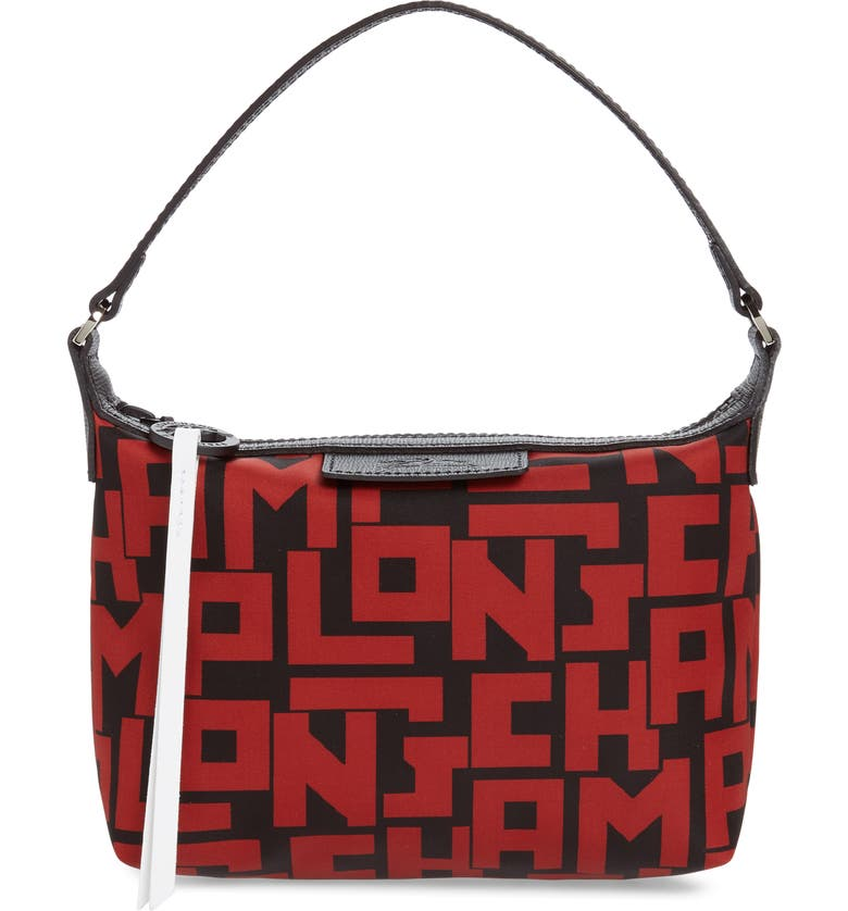 LONGCHAMP Lonchamp Mini Le Pliage Logo Nylon Shoulder Bag, Main, color, BLACK/ BRICK