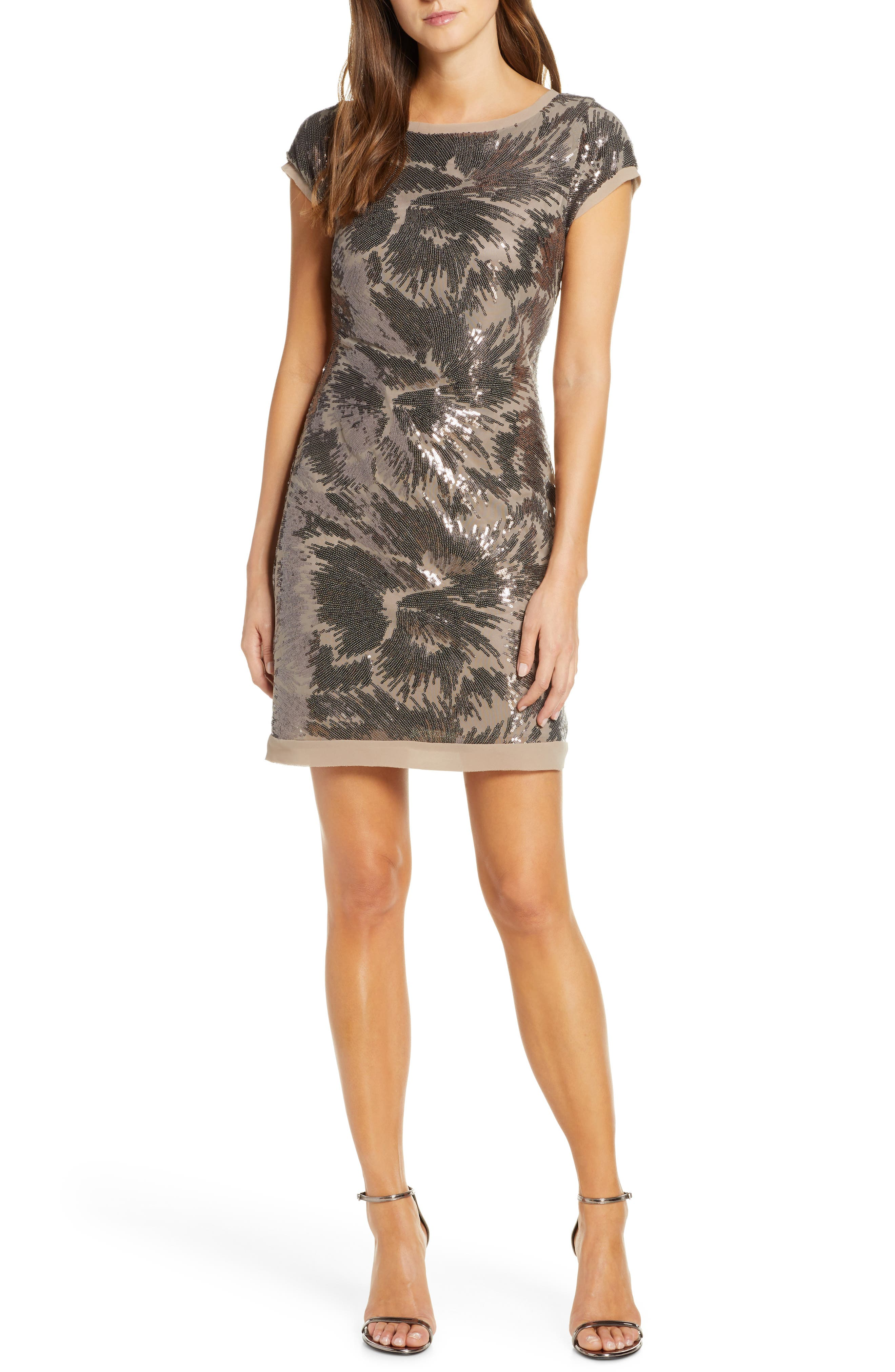 Vince Camuto Cap Sleeve Sequin Cocktail Dress, Beige