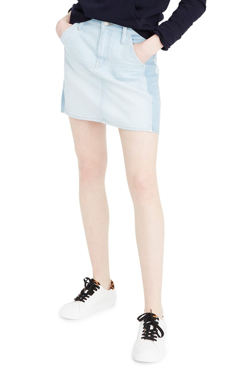J.CREW Two-Tone Denim Miniskirt, Main, color, 400