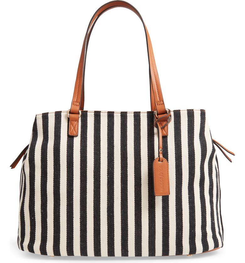 SOLE SOCIETY 'Oversize Millie' Stripe Print Tote, Main, color, 002