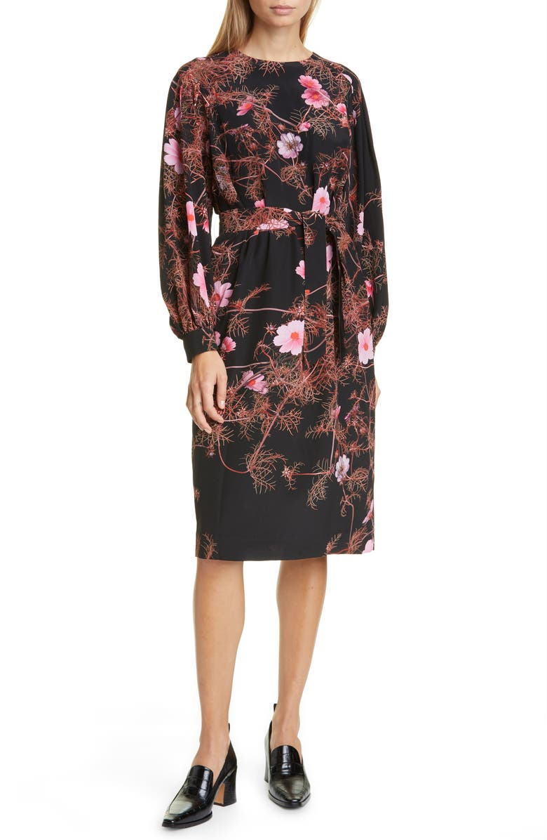 DRIES VAN NOTEN Dizan Floral Print Long Sleeve Silk Dress, Main, color, BLACK