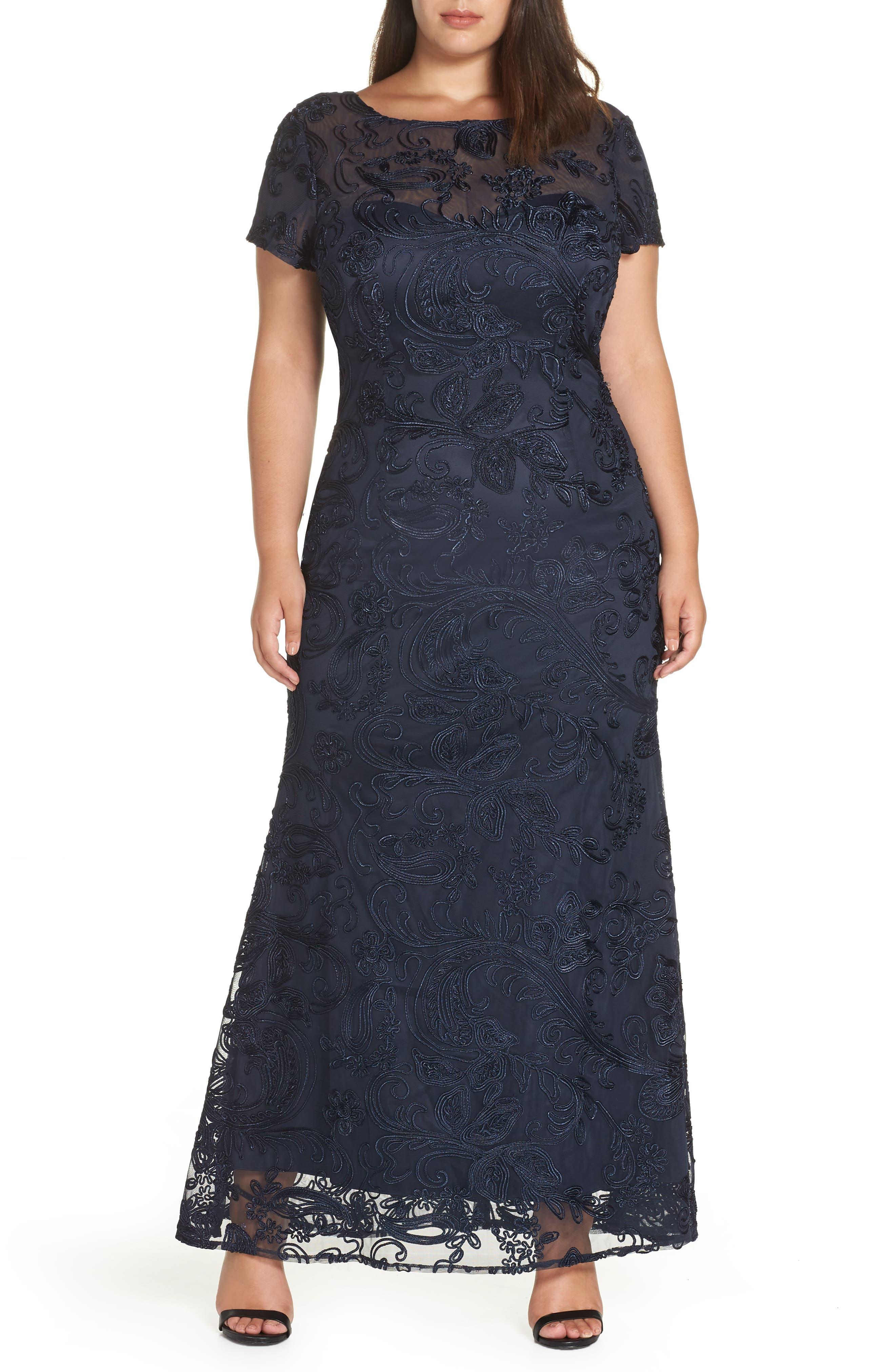 Plus Size Js Collections Soutache Lace Gown, Blue