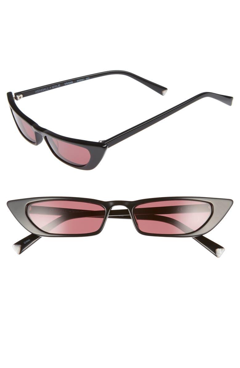 KENDALL + KYLIE Vivian 51mm Extreme Cat Eye Sunglasses, Main, color, BLACK