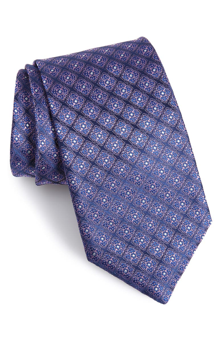 CANALI Medallion Silk Tie, Main, color, DARK BLUE