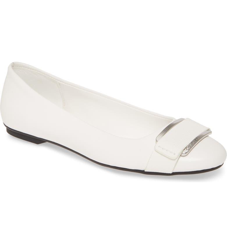 CALVIN KLEIN Oneta Ballet Flat, Main, color, WHITE LEATHER