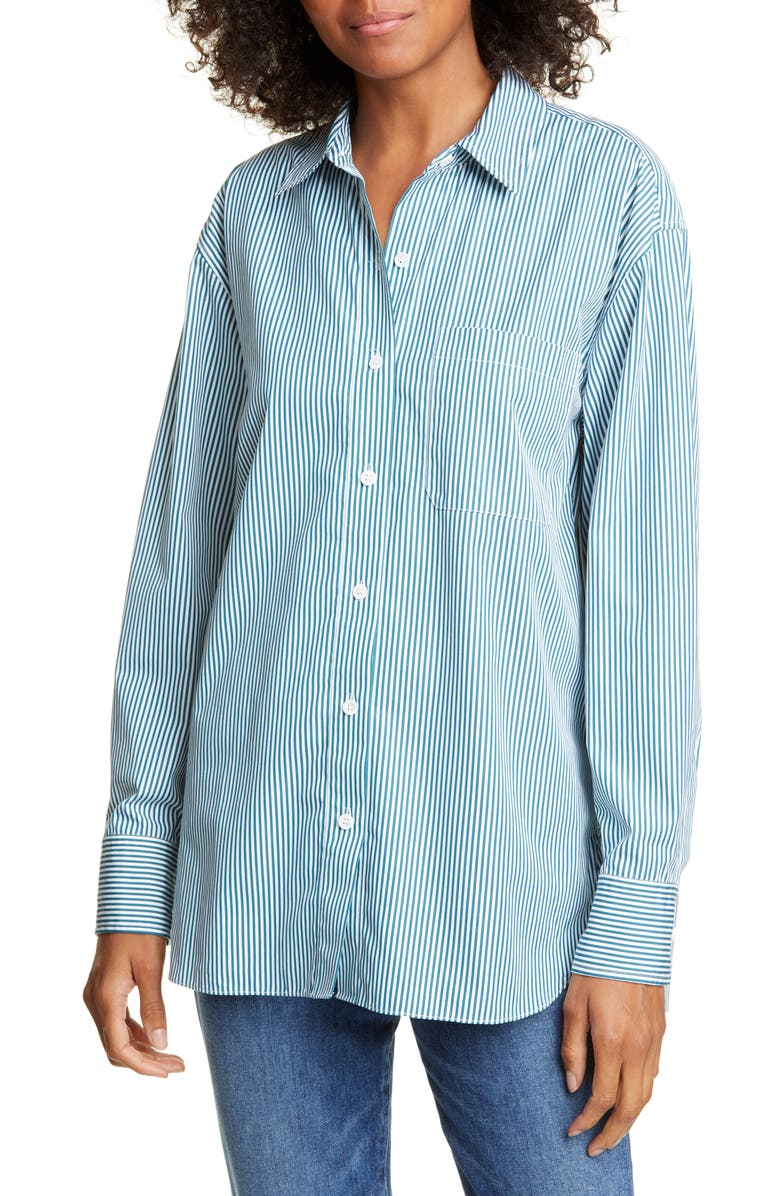 JENNI KAYNE Stripe Boyfriend Cotton Poplin Shirt, Main, color, FOREST