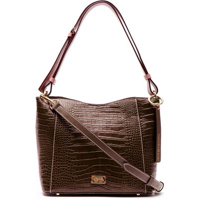 Frances Valentine Small June Croc Embossed Leather Hobo - Brown