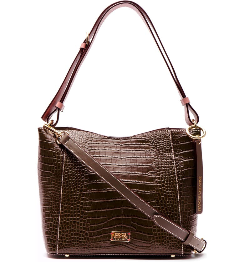 FRANCES VALENTINE Small June Croc Embossed Leather Hobo, Main, color, CHOCOLATE/ PINK